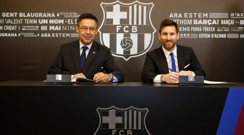Lionel Messi lors de la signature