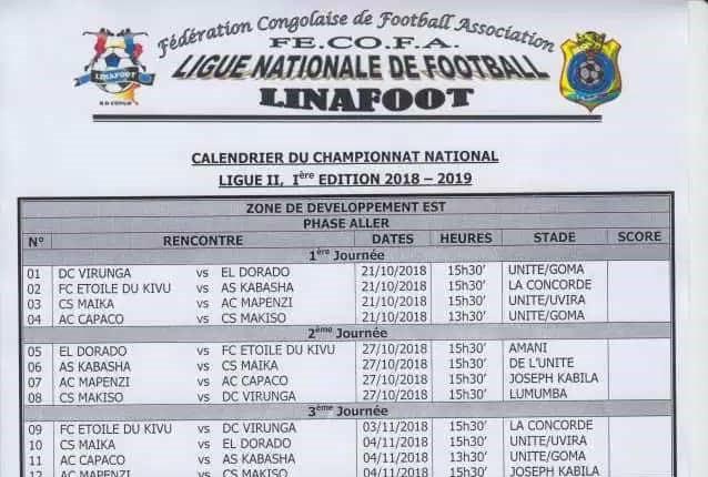 Ligue 2 zone Est: le calendrier a été rendu public, le Nord-Kivu avec trois équipes